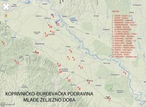 Karta latenskih lokaliteta u Podravini